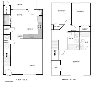 3 bed, 2.5 bath floor plan